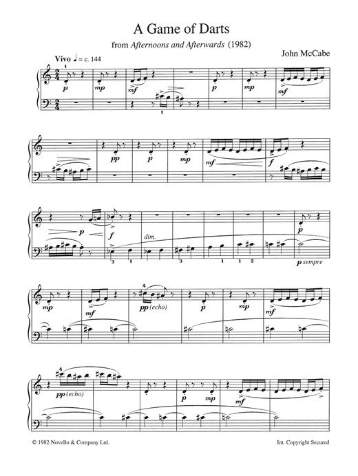 """A Game Of Darts (from """"Afternoons and Afterwards"""") Sheet Music"""