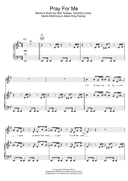 Pray For Me (Piano, Vocal & Guitar (Right-Hand Melody))