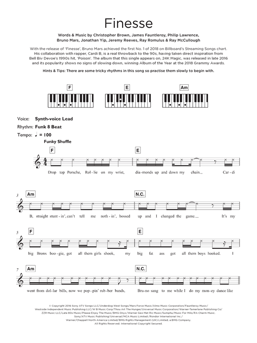 Finesse (feat. Cardi B) Sheet Music