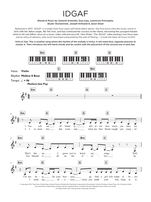 IDGAF Sheet Music