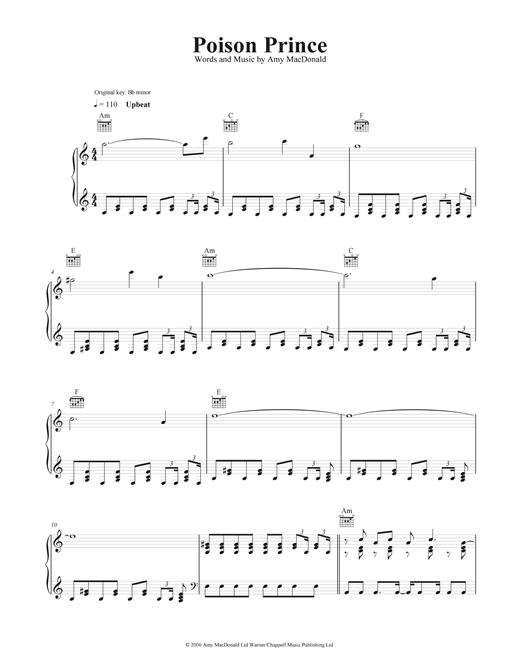 Poison Prince Sheet Music