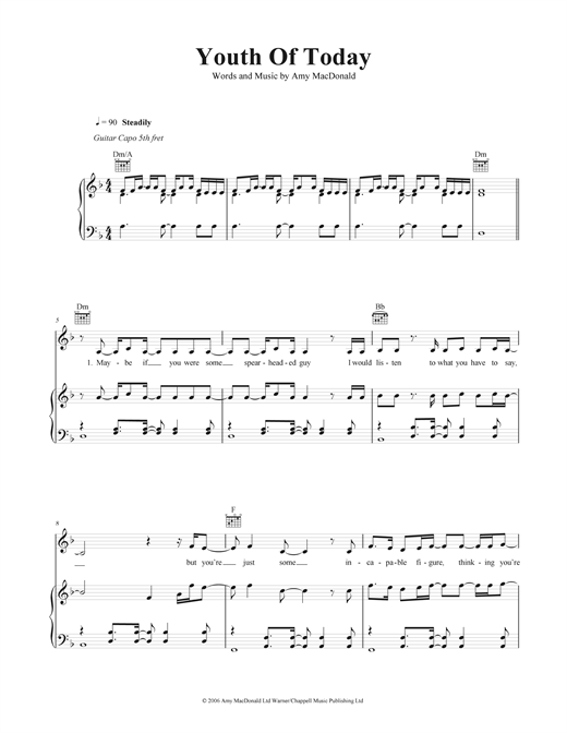 Youth Of Today Sheet Music