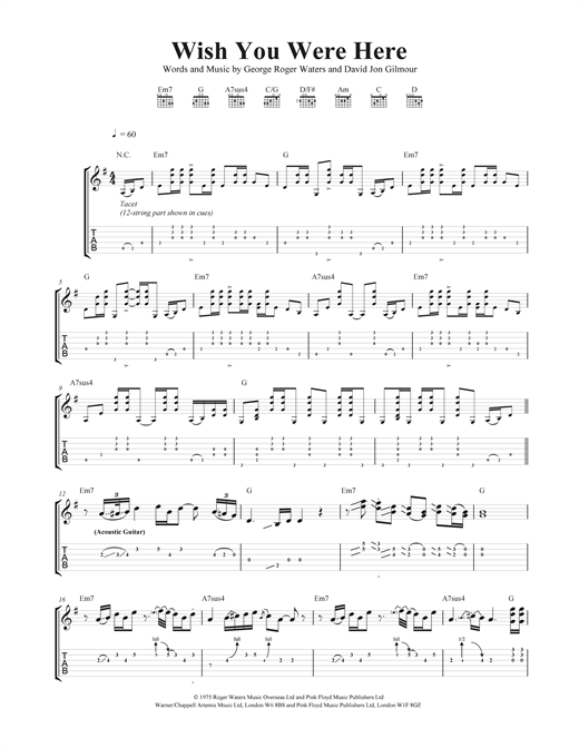 Guitar guitar tabs wish you were here : Wish You Were Here Guitar Tab by Pink Floyd (Guitar Tab – 39958)