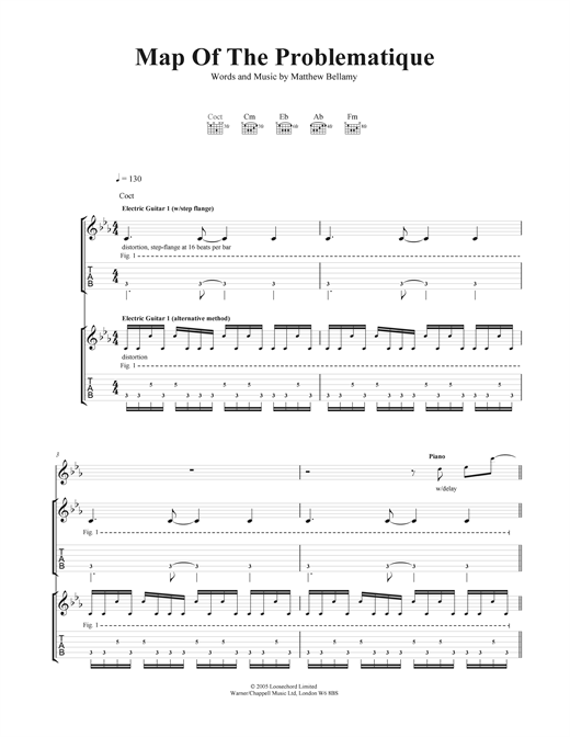 Map Of The Problematique Guitar Tab by Muse Guitar Tab  41265