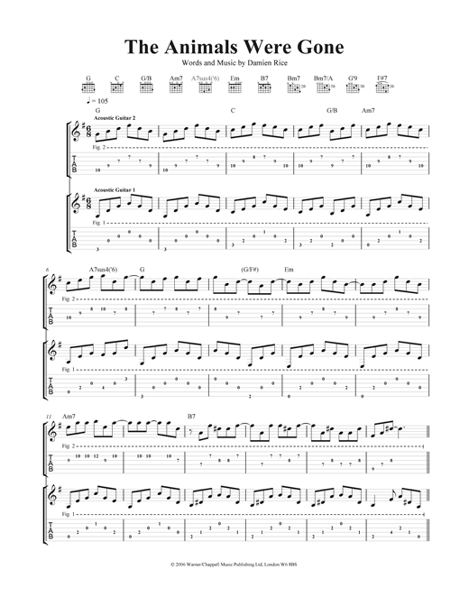 The Animals Were Gone Sheet Music