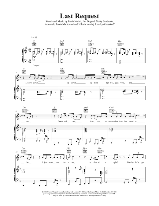Last Request Sheet Music By Paolo Nutini Piano Vocal Guitar 41153