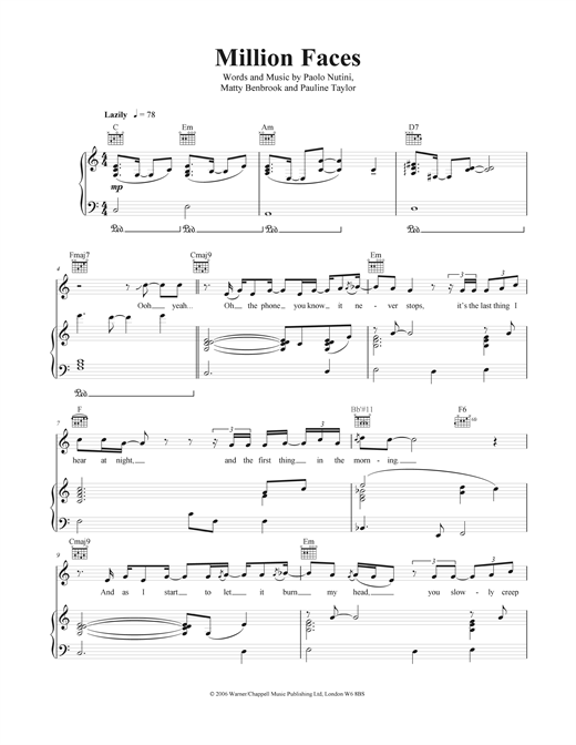Million Faces Sheet Music