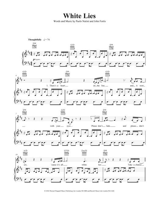 White Lies Sheet Music