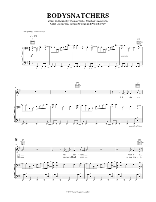 Bodysnatchers Sheet Music