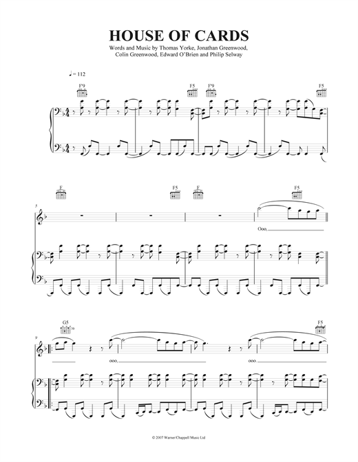 House Of Cards Sheet Music