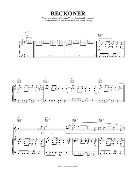 Reckoner Sheet Music
