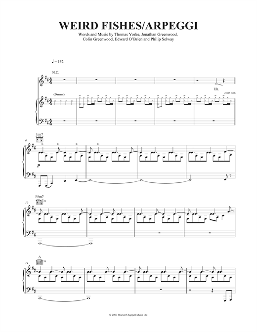 Weird Fishes Arpeggi Sheet Music By Radiohead Piano
