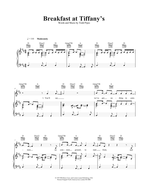 Breakfast At Tiffany's Sheet Music