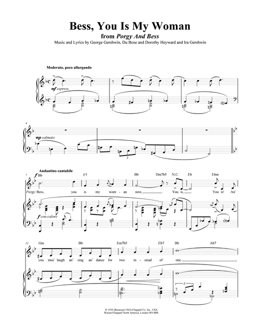 "Bess, You Is My Woman Now (from ""Porgy And Bess"") Sheet Music"