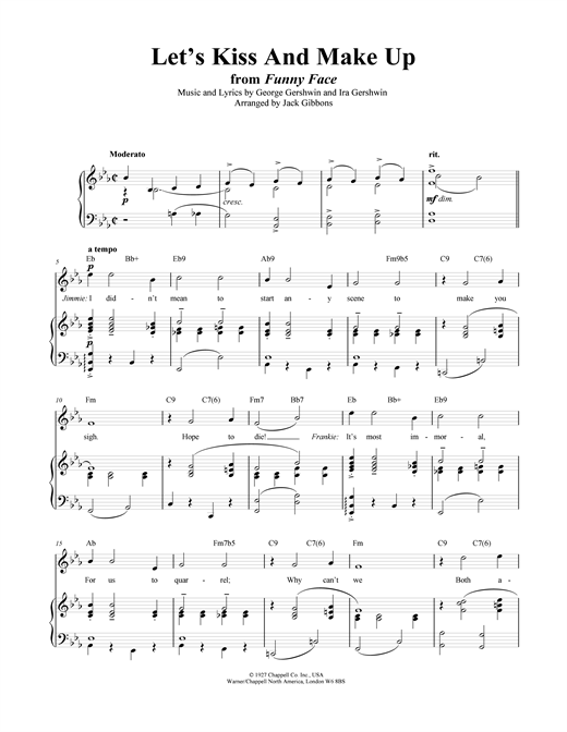Partition piano Let's Kiss And Make Up de George Gershwin - Piano Voix Guitare (Mélodie Main Droite)