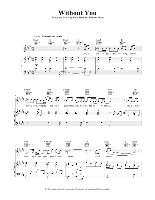 Piano without you piano chords : Without You sheet music by Harry Nilsson (Piano, Vocal & Guitar ...