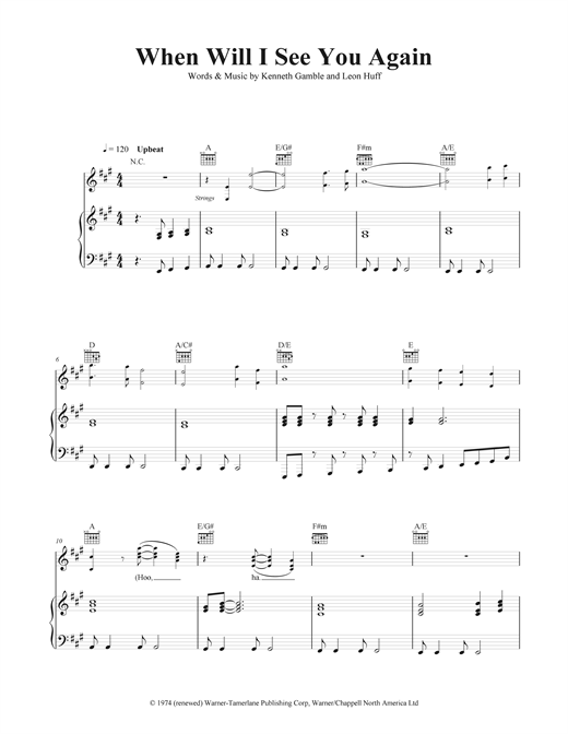 Piano piano chords see you again : When Will I See You Again? sheet music by Three Degrees (Piano ...