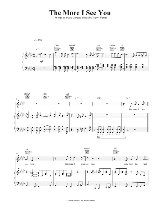 The More I See You Sheet Music