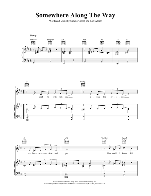 Somewhere Along The Way Sheet Music
