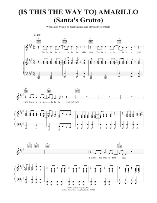(Is This The Way To) Amarillo (Santa's Grotto) Sheet Music