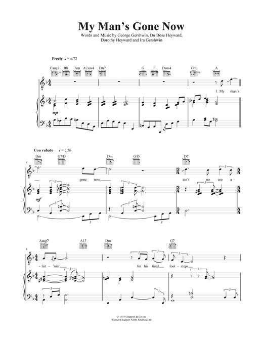 My Man's Gone Now Sheet Music