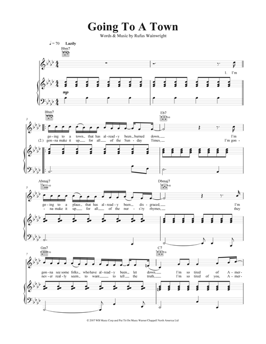 Going To A Town Sheet Music
