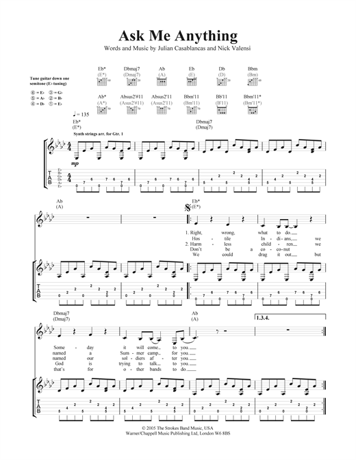 Ask Me Anything Sheet Music