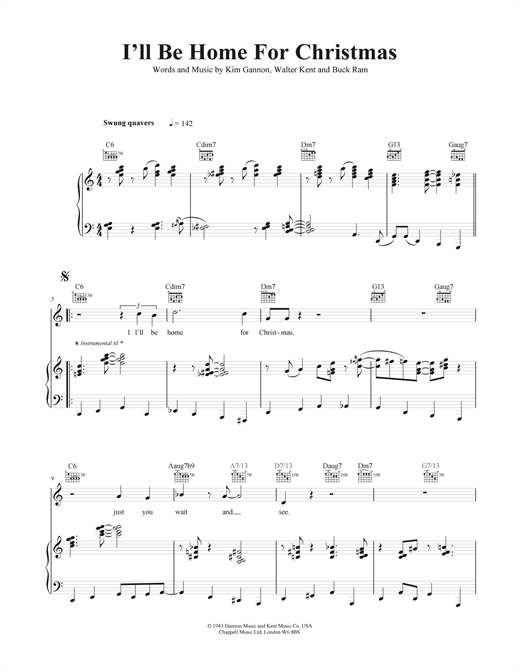 I'll Be Home For Christmas sheet music by Tony Bennett (Piano ...