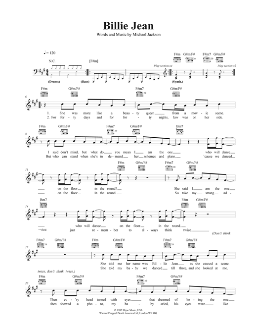 Piano piano chords melody : Billie Jean chords by Michael Jackson (Melody Line, Lyrics ...