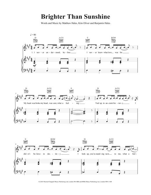 Brighter Than Sunshine Sheet Music