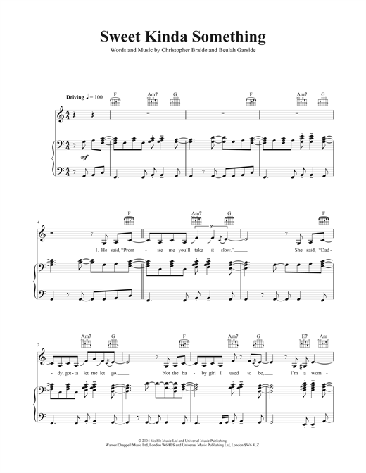 Sweet Kinda Something Sheet Music