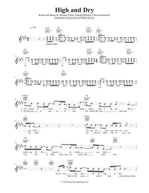 High And Dry Sheet Music