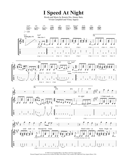 I Speed At Night Sheet Music