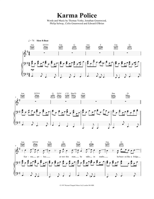 Piano tablature piano facile gratuite : Partitions Piano Radiohead Karma Police
