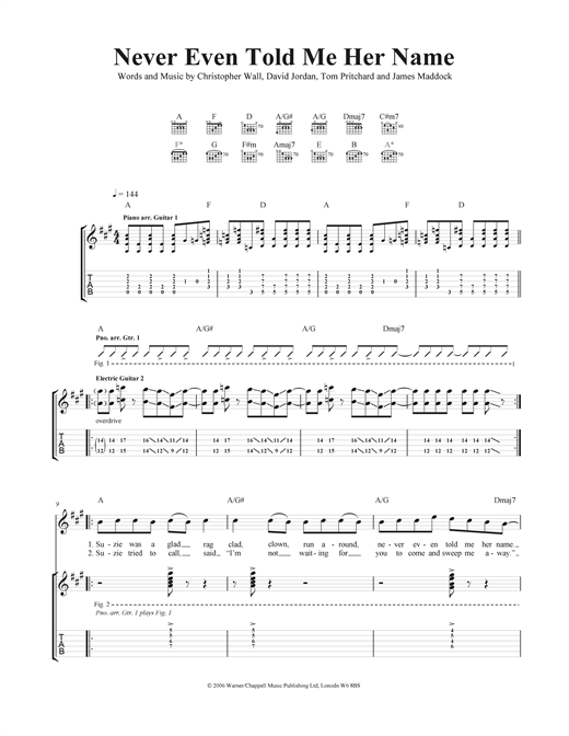 Never Even Told Me Her Name Sheet Music