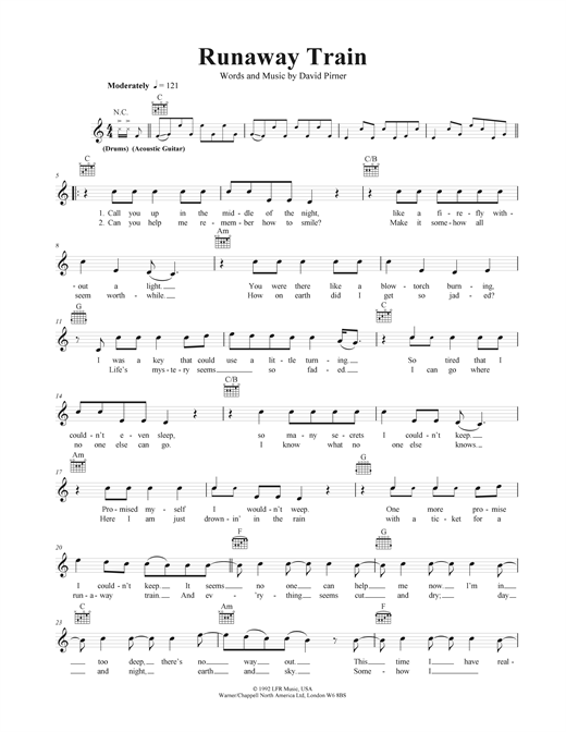 Runaway Train Sheet Music