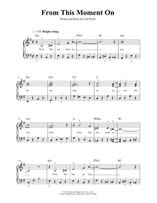 From This Moment On (from Out Of This World) Sheet Music