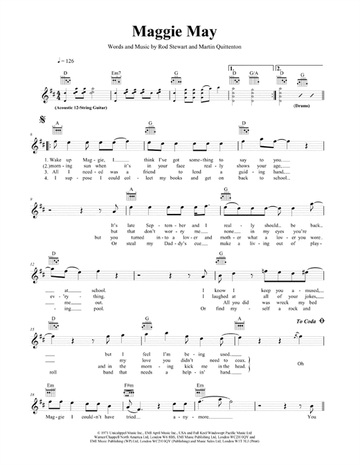 Maggie May Sheet Music