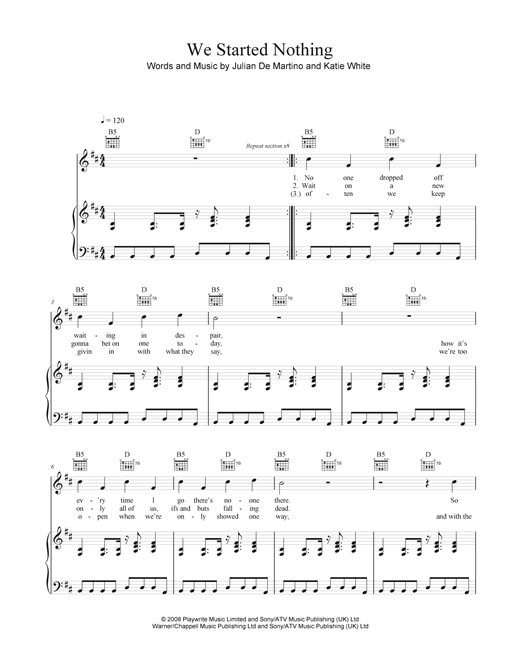 We Started Nothing Sheet Music