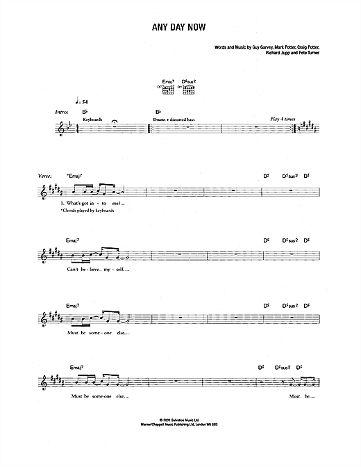 Any Day Now Sheet Music