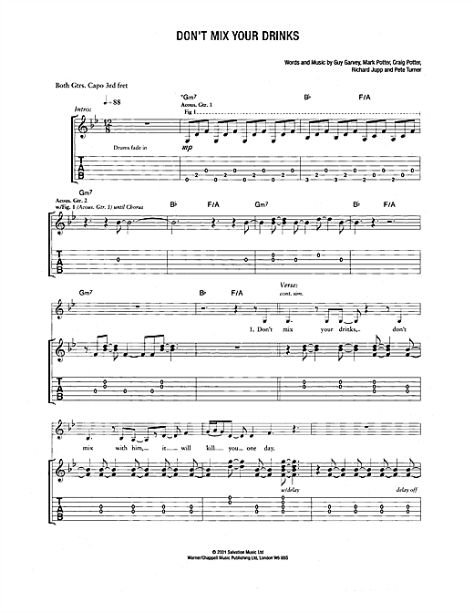 Don't Mix Your Drinks Sheet Music