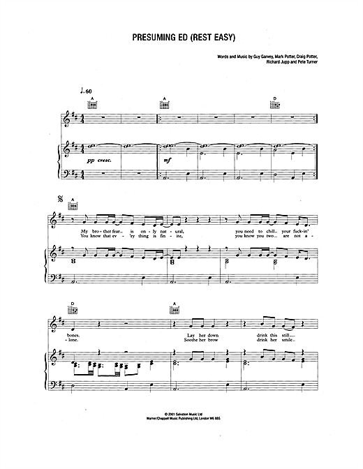 Presuming Ed (Rest East) Sheet Music