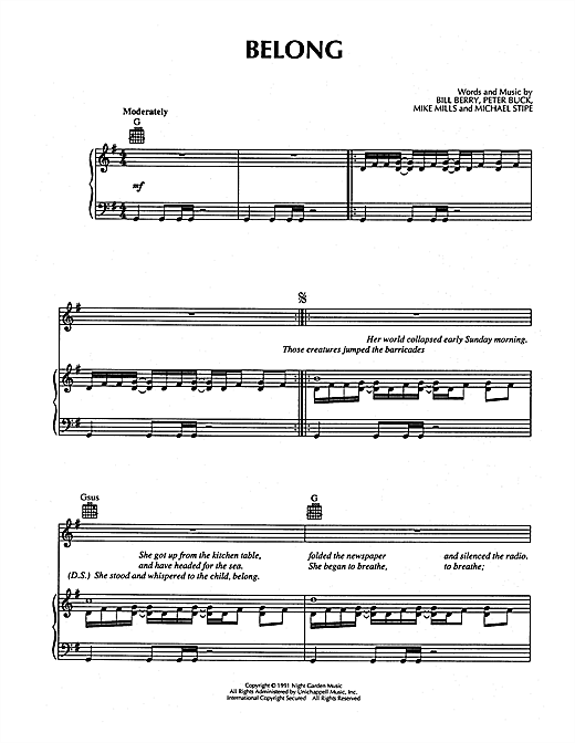 Belong Sheet Music