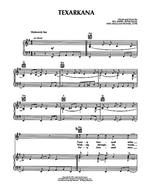 Texarkana Sheet Music