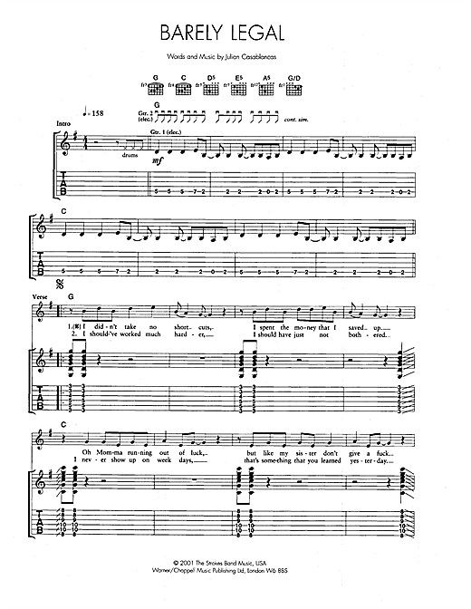 Barely Legal Sheet Music