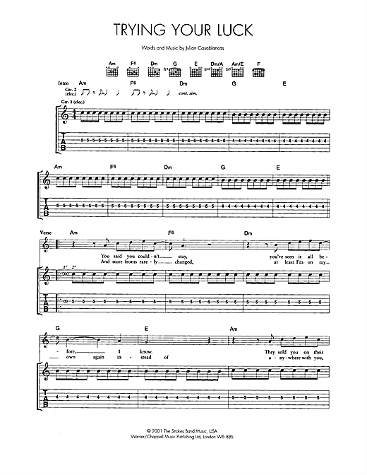 Trying Your Luck Sheet Music