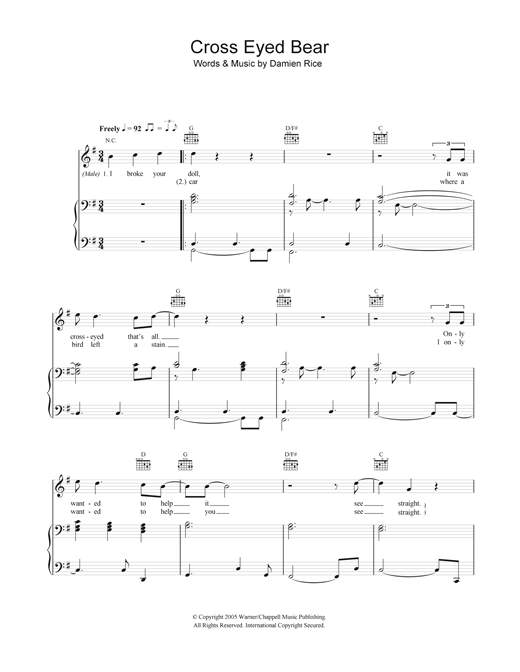 Cross-Eyed Bear Sheet Music