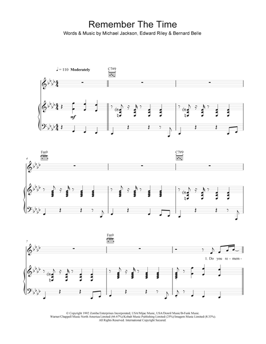 Remember The Time Sheet Music