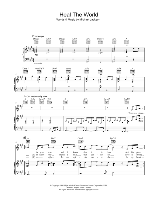 Heal The World Sheet Music