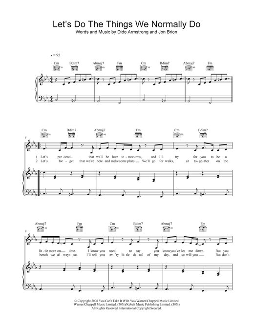 Let's Do The Things We Normally Do Sheet Music
